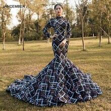 J67018 jancember 섹시 블랙 인어 이브닝 가운 레이스 채플 기차 패턴 긴 이브닝 드레스 2020 платье русалка