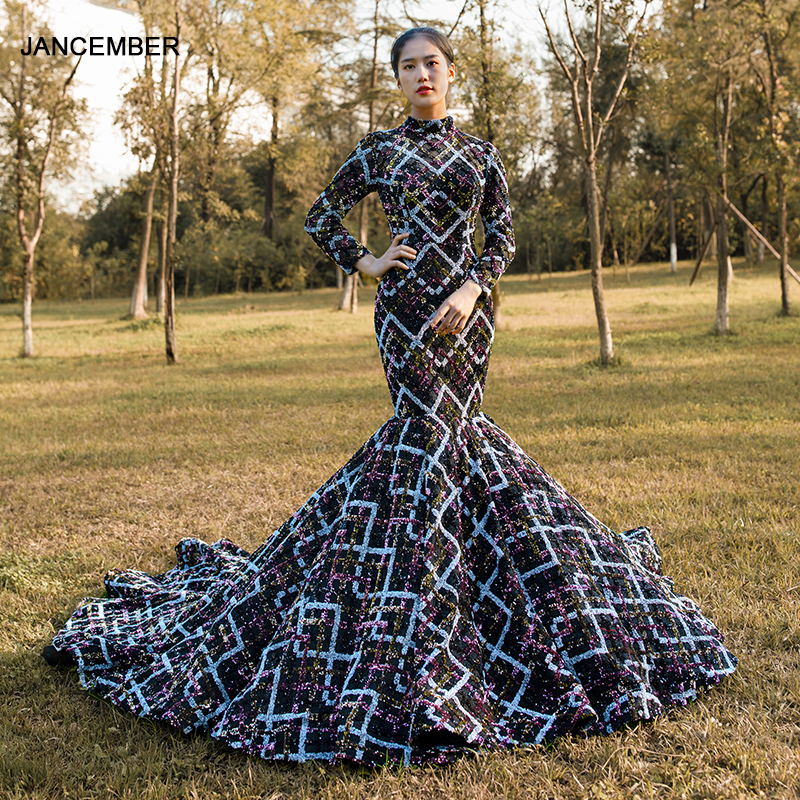 J67018 Jancember Sexy Black Mermaid Evening Gown With Lace High Chapel Train Pattern Long Evening Dresses 2020 платье русалка