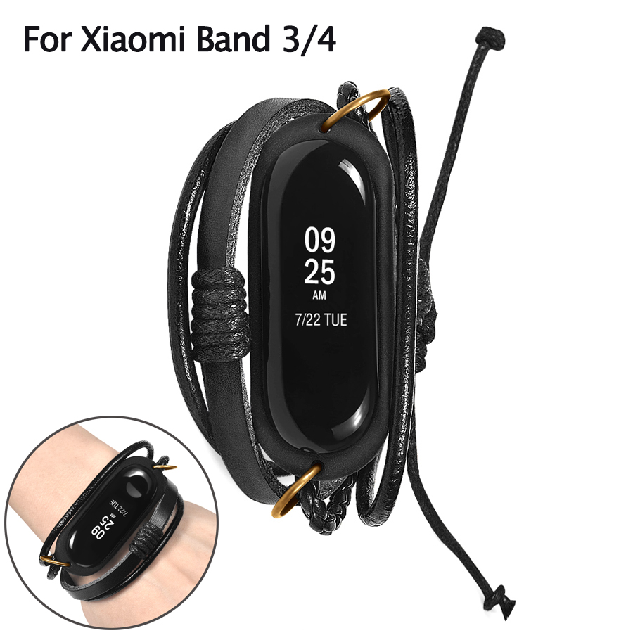 For Xiaomi Mi Band 4 3 Bracelet Leather Watch Strap Braided Replacement Vintage Watch Band For Xiaomi Mi Band 3 4 Accessories