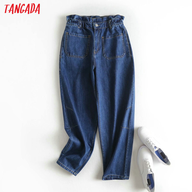 Tangada 2020 Women Dark Blue Mom Jeans Pants Long Trousers Strethy Waist Pockets Zipper Loose Female Pants 2P13