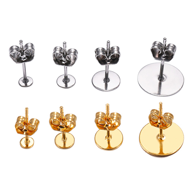 20-100pcs/lot Gold Stainless Steel Blank Post Earring Studs Base Pins With Earring Plug Findings Ear Back For DIY Jewelry Making