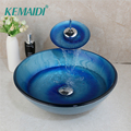 KEMAIDI Blue Sea Tempered Glass Hand-Paint Lavatory Deck Mount Basin Tap Bathroom Washbasin Bath Sink Combine Set Mixer Faucet