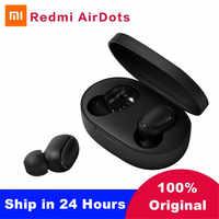 Xiaomi Redmi Airdots TWS Mi True беспроводные Bluetooth наушники стерео бас Bluetooth 5,0 с микрофоном свободные наушники AI Control