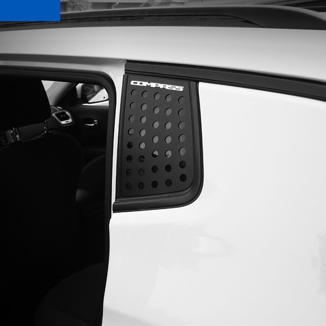 Sansour Car Exterior Rear Window Triangle Glass Decoration Cover Trim Stickers for Jeep Compass 2017 Up Car Accessories Styling 2