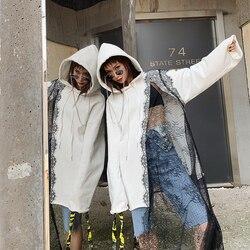 [Ewq] 2020 Lente Herfst Hooded Kraag Lange Mouwen Asymmetrische Patchwork Truien High Street Sweater Vrouwen AH03100