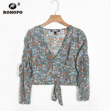 ROHOPO Red Floral Long Sleeve Tie Hem V Collar Grey Blouse Draped Sleeve Elegant Autumn Ladies Top Crop Shirt #F0551 long sleeve self tie crop top