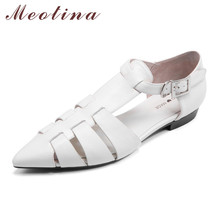 Meotina Shoes Women Natural Genuine Leather Flat Pointed Toe Buckle Female Summer Dress Black Large Size 40