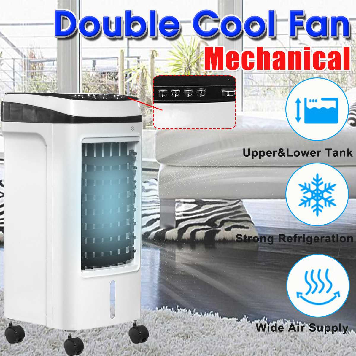 220V 200W Mobile Air Conditioner Indoor Home Air Conditioning Fan Double Water Tank Mini Air Cooling Fan Humidifier Cool Summer