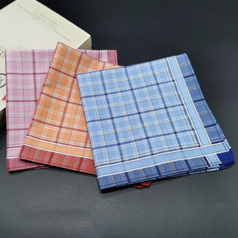 3Pcs Square Plaid Stripe Handkerchiefs Hanky Pocket Cotton Towel 28*28cm Random