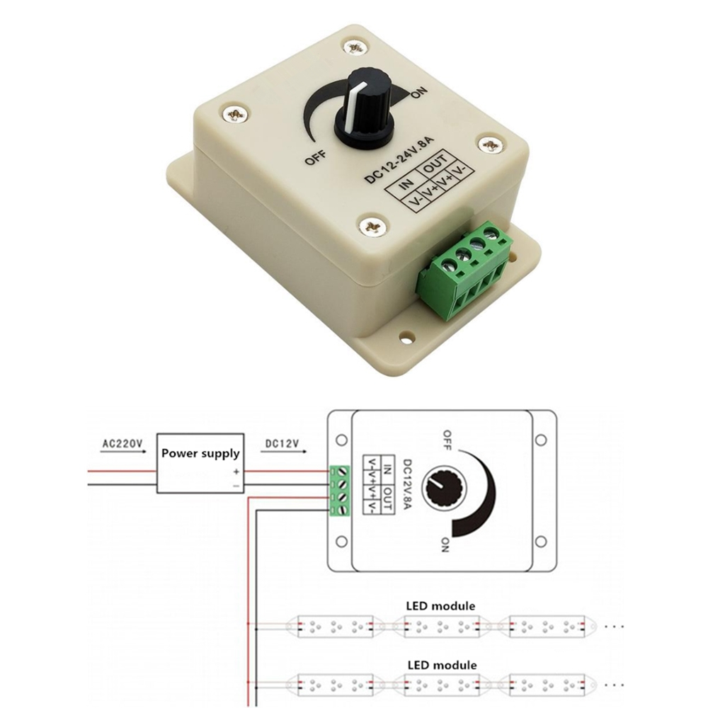 Regulador de voltaje DC-DC estabilizador de voltaje 8A fuente de alimentación controlador de velocidad ajustable cc 12 V LED Dimmer 12 V