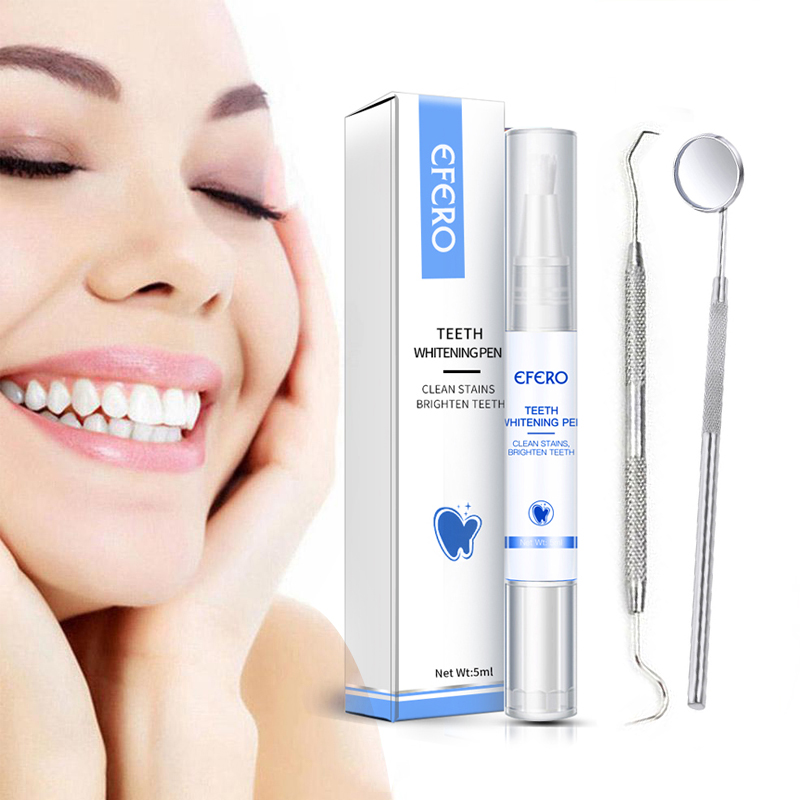 1Set Teeth Whitening Pen Gel Teeth Whitener Remove Plaque Stains Tartar Bleaching Tooth Cleaning Oral Hygiene Dental Mirror Tool