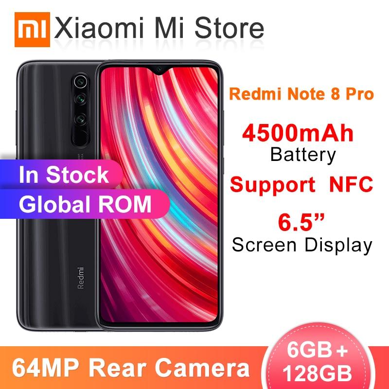 Original Global ROM Redmi Note 8 Pro 6GB RAM 128GB ROM 64MP Quad Cameras MTK Helio G90T Smartphone 4500mAh 18W QC3.0 UFS2.1 NFC