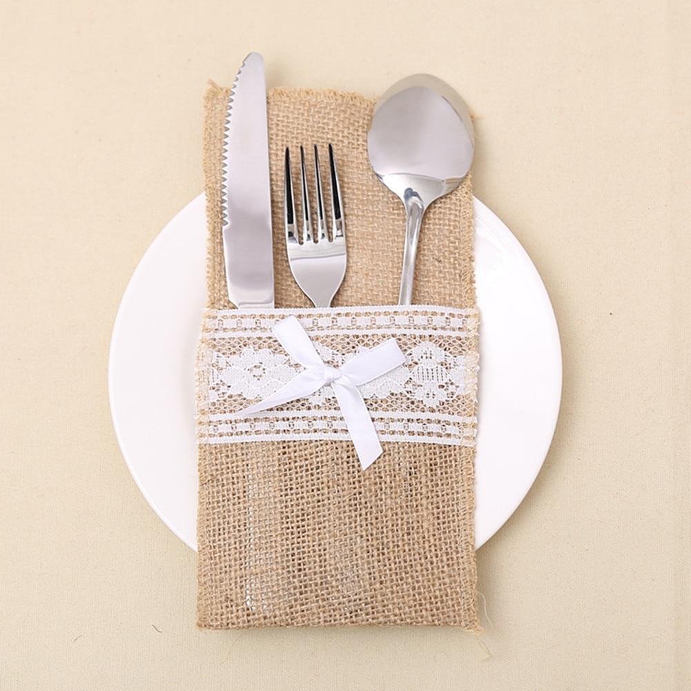 Dentelle tissu pratique solide propre noël Santa costume couverture maison couteau et fourchette ensemble sacs fournitures Table Place décoration sacs