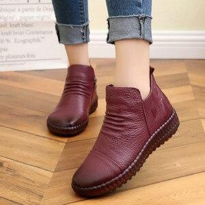 Image 4 - Dropshipping แฟชั่นฤดูใบไม้ร่วงแบนรองเท้าของแท้รองเท้าหนัง Vintage Casual รองเท้า Retro Handmade ผู้หญิง Boot