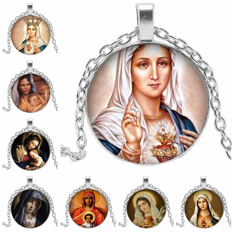 2019 Hot Sale Christian Virgin Mary Glass Dome Dome Flat Back Alloy Necklace Pendant Various Virgin Mary Accessories