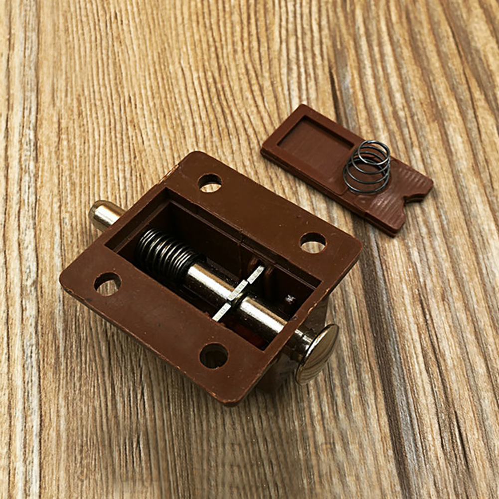 Door DIY Thumb Lock Closet Plastic Cupboard Portable Home Furniture Hardware Bolt Automatic Button Latch