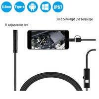 3 in 1 Semi-Starre Android Endoskop Kamera 5,5mm Inspektion Kamera IP67 Wasserdicht Schlange Kamera Mit 6 LEDs für Typ C, USB PC