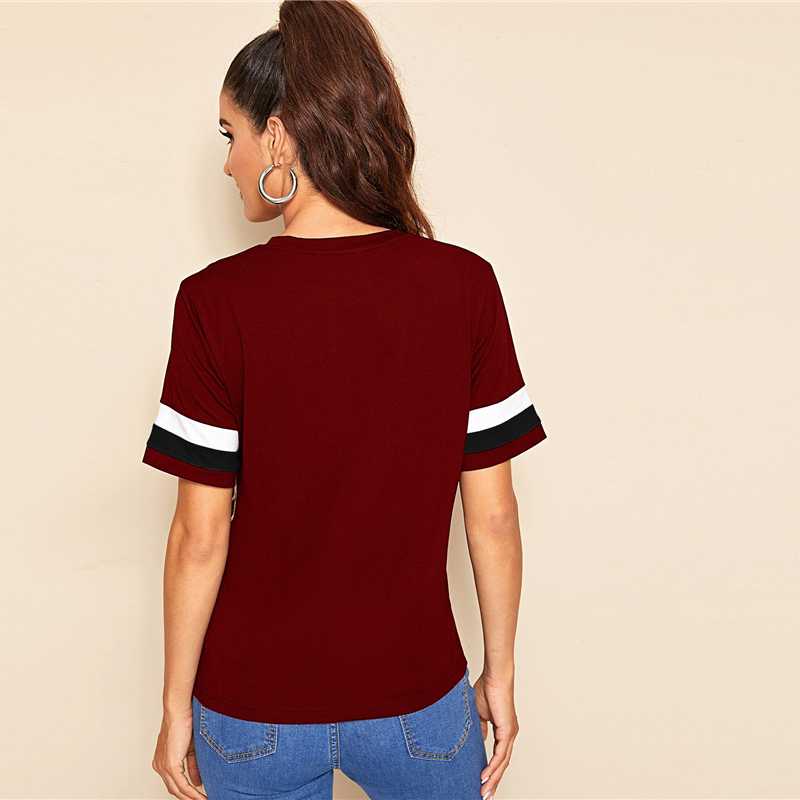Block Cut-and-Sew Leopard Panel Top Short Sleeve O-Neck Casual T Shirt 88