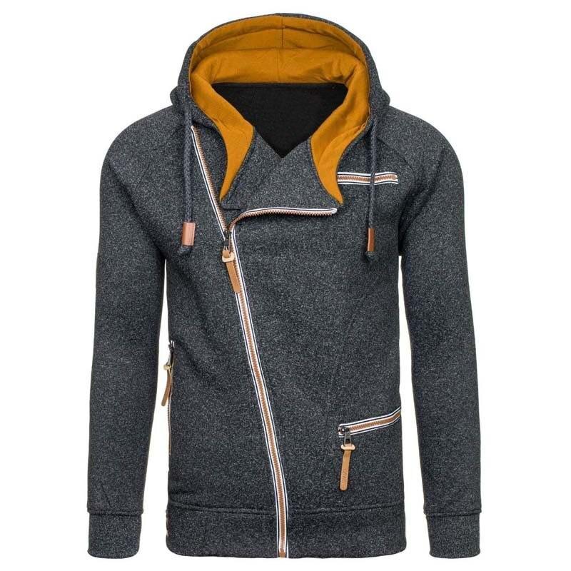 New Hoodie Men 2019 Spring Casual Solid Long Sleeve Mens Hoodies Sweatshirts Slim Zipper Hoody Sweatshirt Men Hooded Streetwear 3