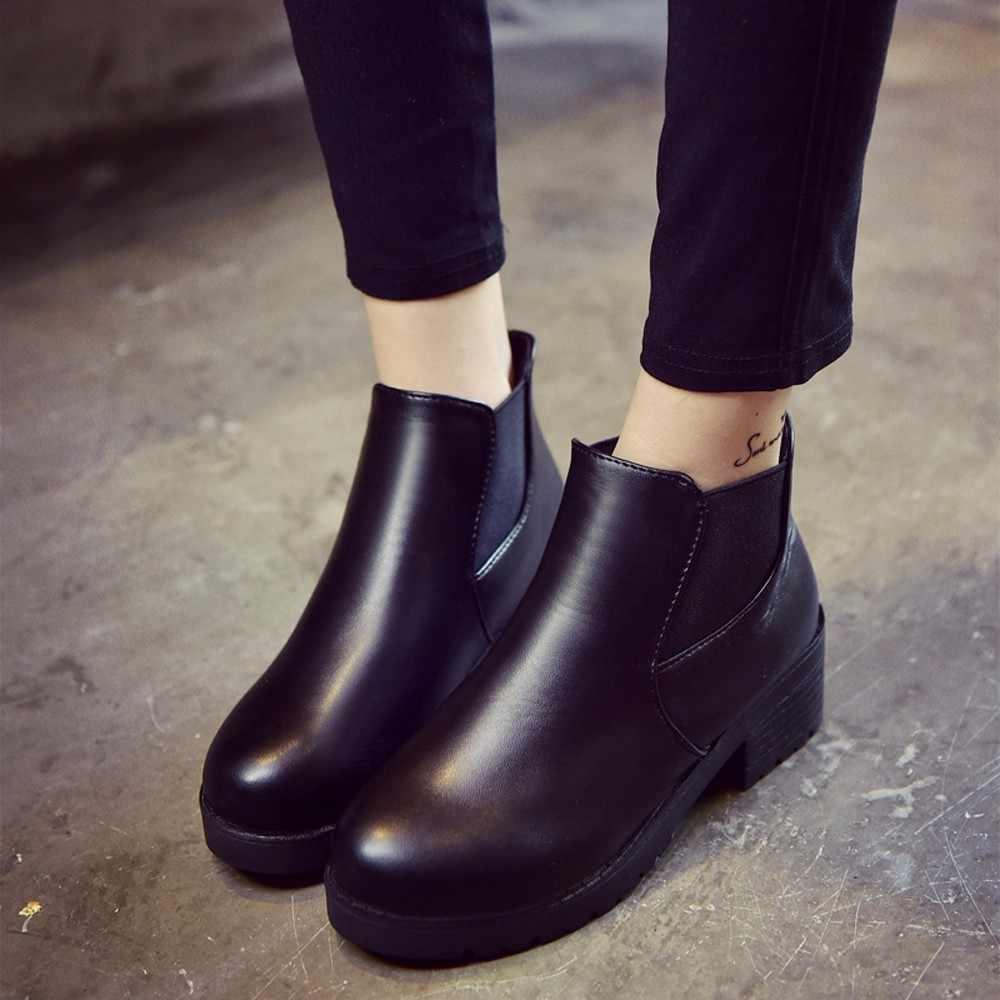 Kadın botları deri düşük düz blok topuk Chelsea kısa yarım çizmeler su geçirmez siyah platformu Martin çizmeler sonbahar kadın Botas Mujer