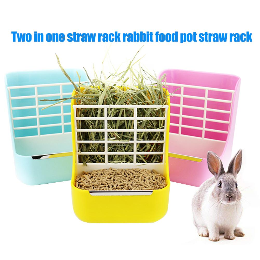 2in1 Plastic Grass Bowl Rack Hay Cat Small Animals Bowl Small Pet Rabbit Hay Grass Feeder Rack Fixed External Shelf