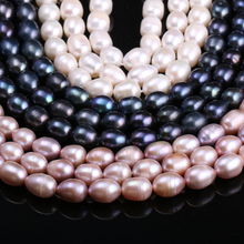 Natural Freshwater Cultured Pearls Beads for DIY Necklace Earrings 8-9mm Rice Shape 100% Jewelry Making 14