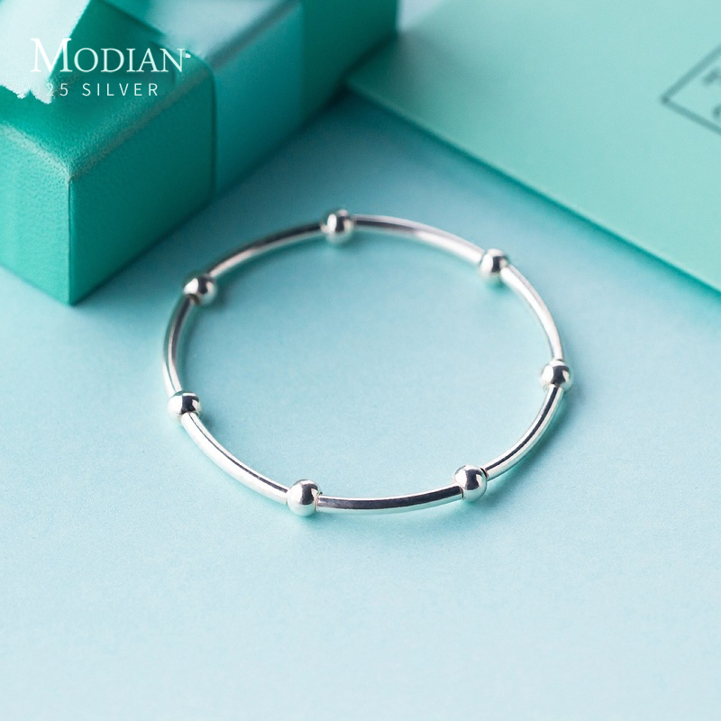 Modian 925 Sterling Silver Beads Fashion For Women Adjustable Silver Bracelets Bangles For Women Sterling Silver Fine  Jewelry