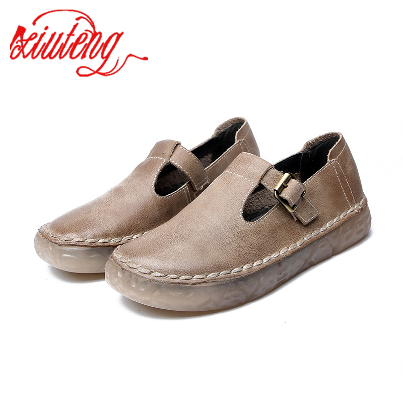 Xiuteng 2020 Spring New Women's Flat Shoes Handmade Wild Soft Bottom Casual Shoes Buckle Flat Genuine Leather Single Shoes Women