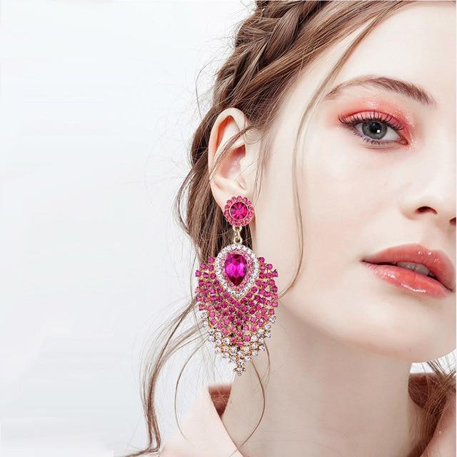 FARLENA Wedding Jewelry MultiColor Crystal Earrings Long Earrings for Women Party Dress Accessory Gift