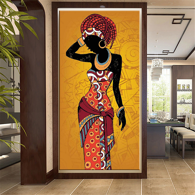 Beautiful African Woman Art Black and Gold Colour Paintings Printed on Canvas 1