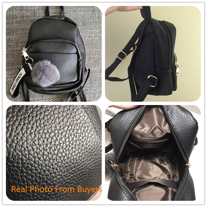 Image 2 - Miyahouse Women Soft PU Leather Mini Backpacks Students Fuzzy Ball Pendant Shoulder Schoolbags Fashion Small Travel Bags Mochila-in Backpacks from Luggage & Bags