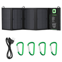 ENKEEO 28W Solar Charger Foldable Solar Panel with Advanced TIR-C Multiple USB 2.0 Output Port with USB Cable and Carabiner Hook