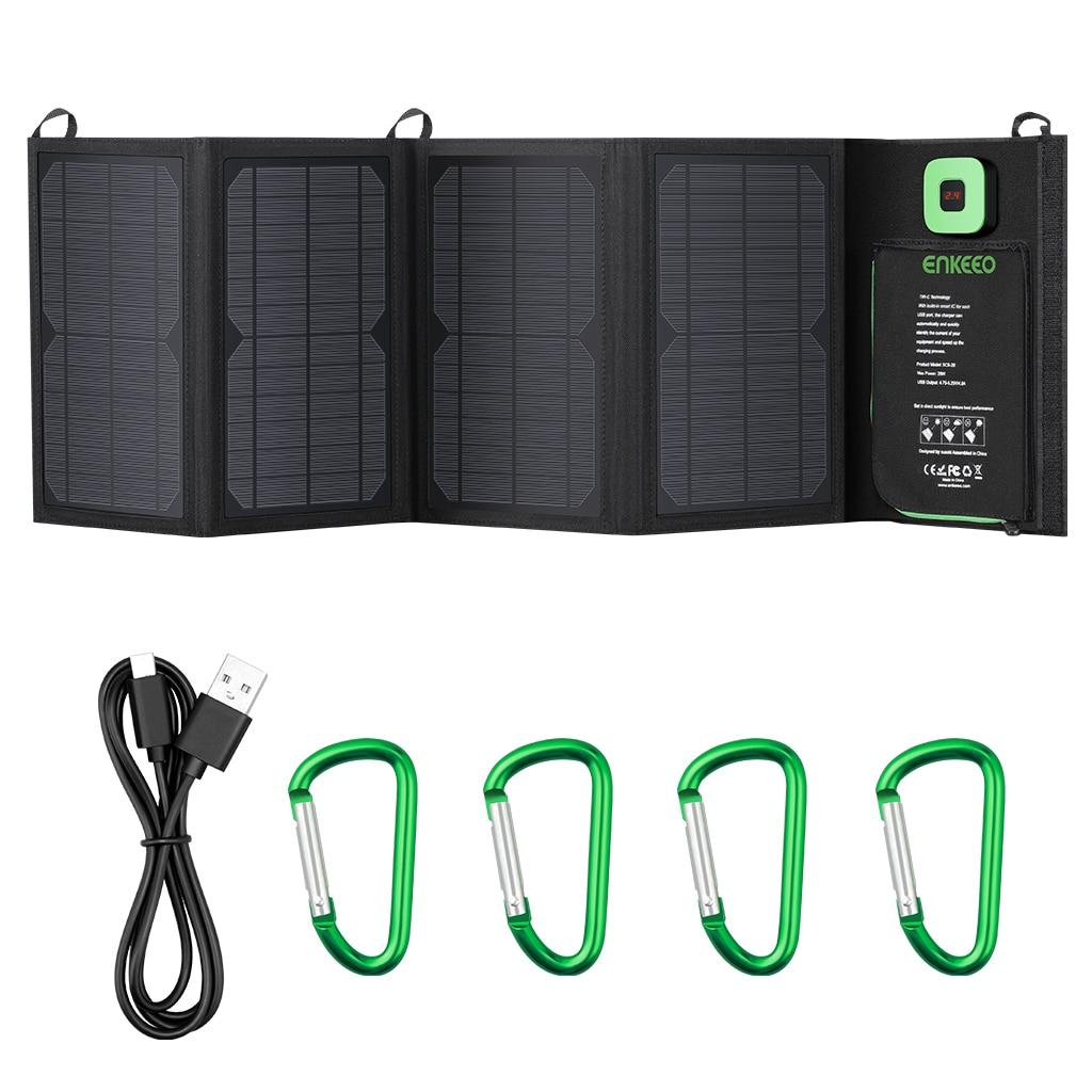 Enkeeo 28w carregador solar dobrável painel solar com avançado TIR-C múltipla porta de saída usb 2.0 com cabo usb e mosquetão gancho