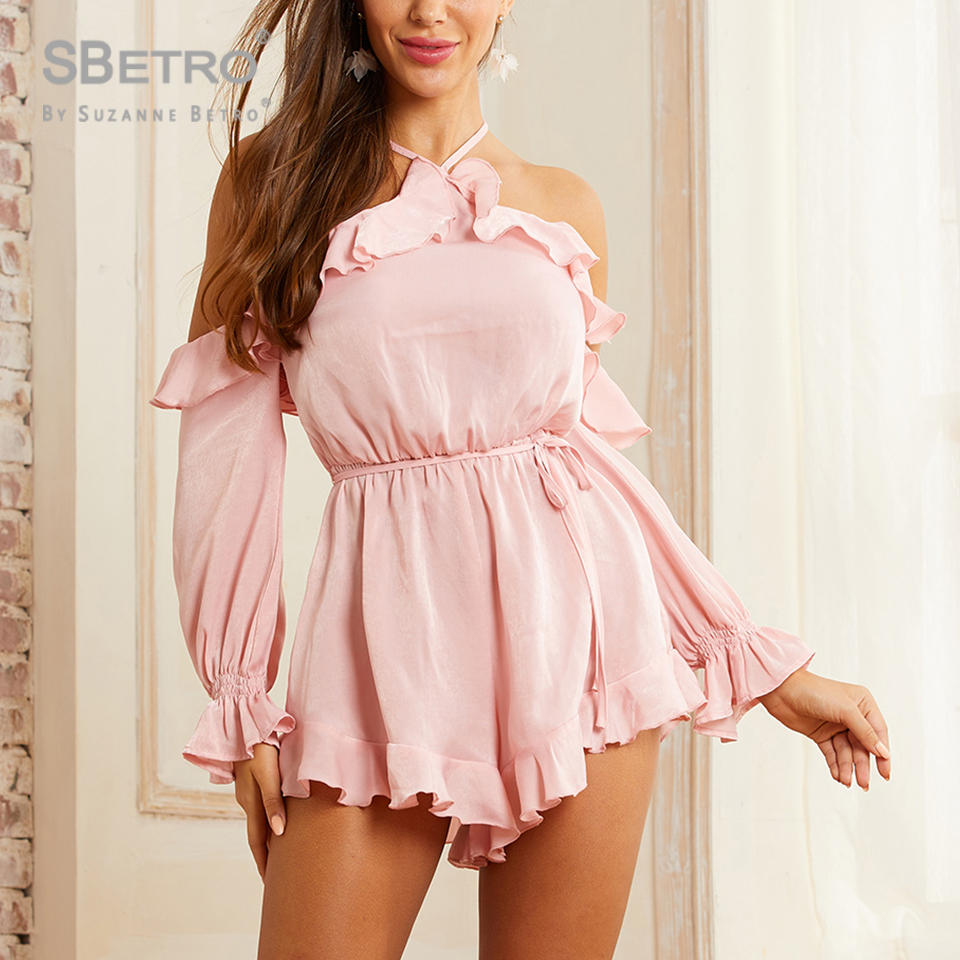 SBetro Pink Solid Off Should Ruffle Trim Tie Back Halter Romper New Fashion  Women Rompers  Sexy Casual Boho Beach Playsuits
