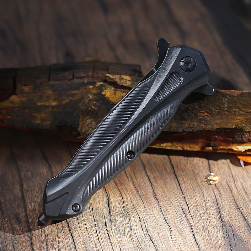 Черный складной нож, высокопрочный стальной Карманный быстро открывающийся острый инструмент для повседневного использования, для кемпин...