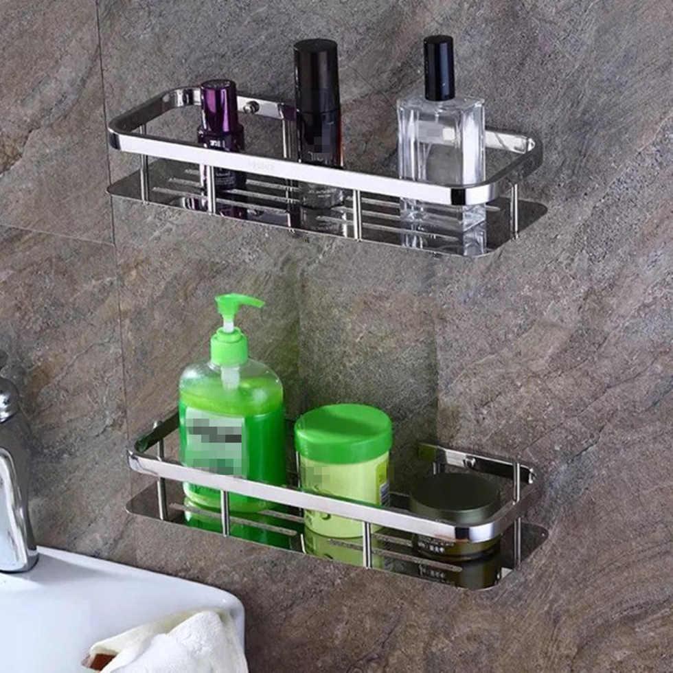 Deluxe 304 ze stali nierdzewnej łazienka półki pojedyncze podwójne kwadratowe prysznic jasne półka koszyk Tidy Rack Caddy Storage Organizer