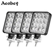 Aeobey listwa świetlna Led 48w 16barra światła samochodowe Led dla 4x4 listwa Led Offroad SUV ATV ciągnik łódź ciężarówki koparka 12V 24V światło robocze