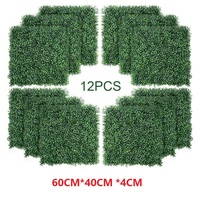 12PCS Artificial Boxwood Panels Topiary Hedge Plant, Privacy Hedge Screen, UV Protected Faux Greenery Mats Suitable