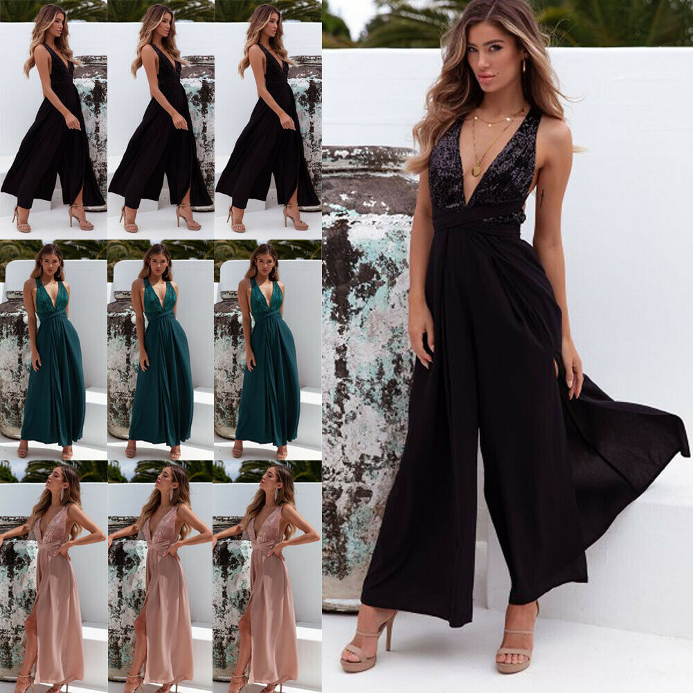 2020 New Fashion Women' s Jumpsuit Solid Loose Casual Sexy Jumpsuit Wide Leg V-neck Sleeveless TIght Waist Jumpsuit