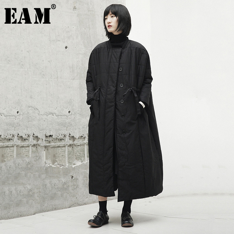 [EAM]  Thickening Bandage Long Cotton-padded Coat Long Sleeve Loose Fit Women Parkas Fashion Tide New Spring Autumn 2020 JI519