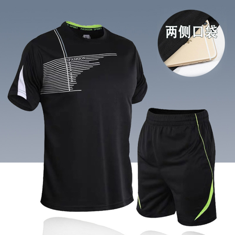 men's set  sportswear kit short sleeve sports sport shirt men running 2pcs suit for soccer gym fitness men t-shirts+shorts sets 3