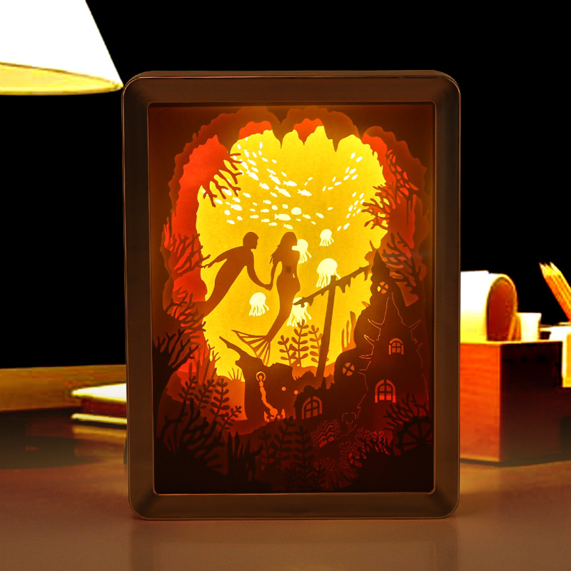 Sweetmade Custom Design Mermaid Innovative 3D Paper Cut Light Shadow Box Frame Valentines Day Gift With Remote Control