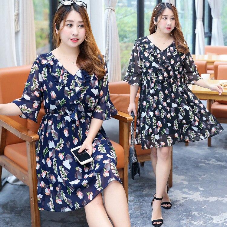 2019 Summer Wear New Style Large GIRL'S Plus-sized WOMEN'S Dress Chiffon Floral-Print Full Body Dress Wholesale On Behalf Of A01
