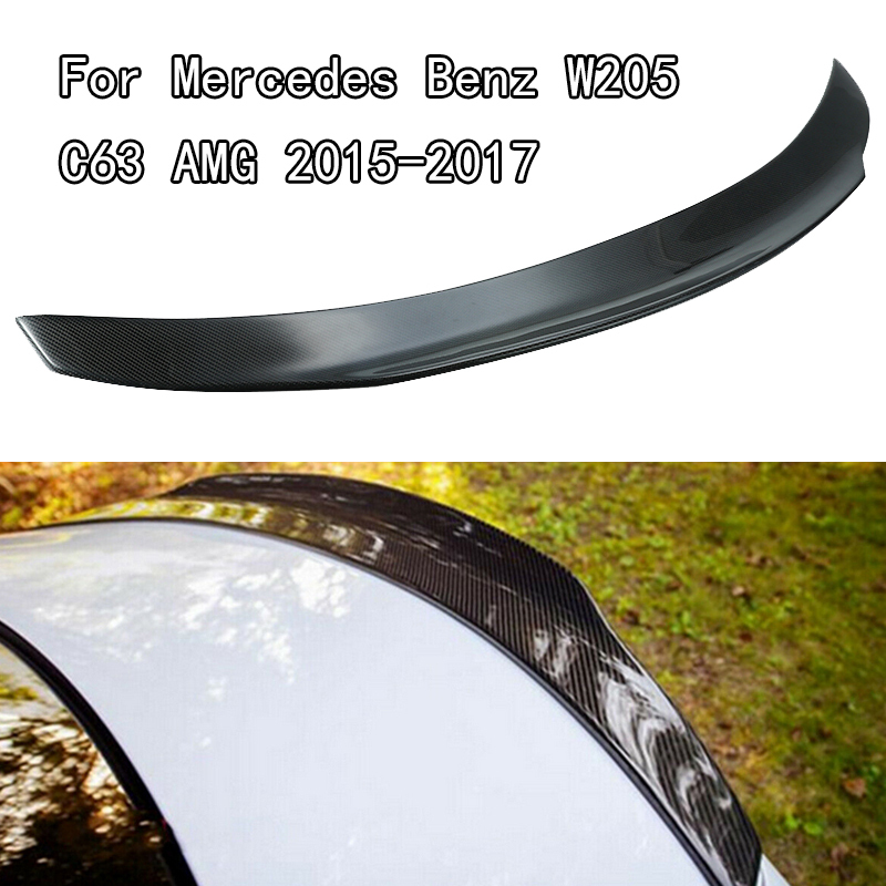 For Mercedes Benz W205 C63 AMG 2015-2017 Carbon Fiber Car Rear Trunk Spoiler Lip Wing Performance Highkick Spoilers Accessories image
