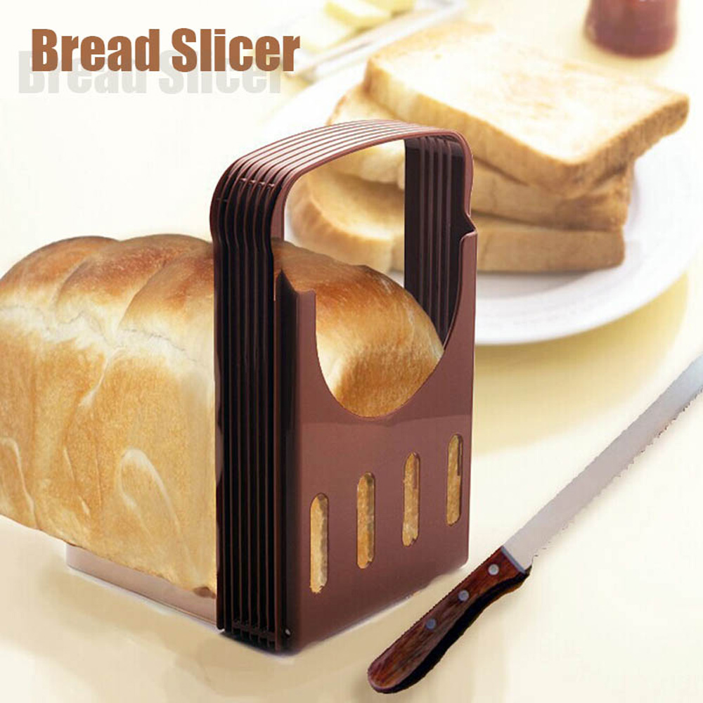 Plastic Toast Bread Slicer Plastic Foldable Loaf Cutter Rack Cutting Guide Slicing Tools Kitchen Accessories