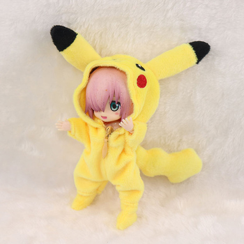 New ob11 bjd Doll Cute suit for 1/12 bjd, obitsu11,ob11 doll accessories Clothing Pikachu doll clothes cute animal outfit for bjd doll 1 12 pukipuki doll clothes