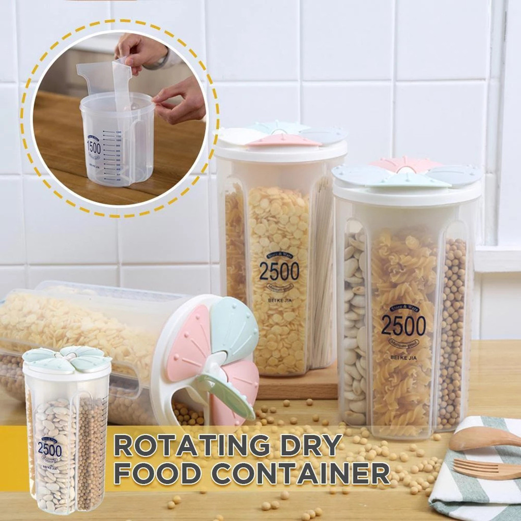 Food Storage Bins Grain Beans Container Cereal Dispenser Box Holder with Cap NEW