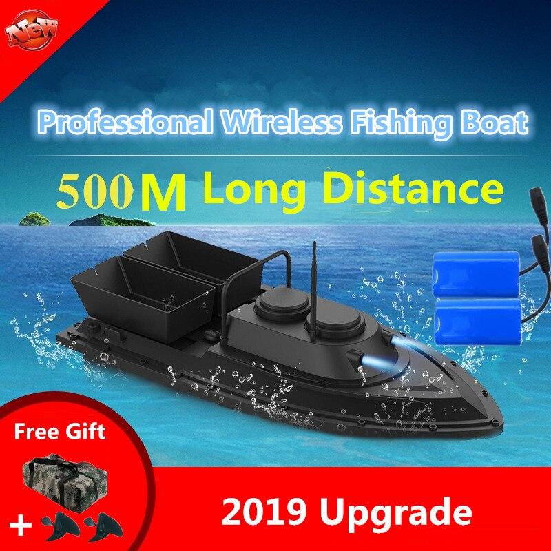 Grande Double trémie intelligente sans fil contrôle RC appât bateau 2.4G 55CM 500M longue Distance Double lumière haute vitesse RC leurre bateau de pêche