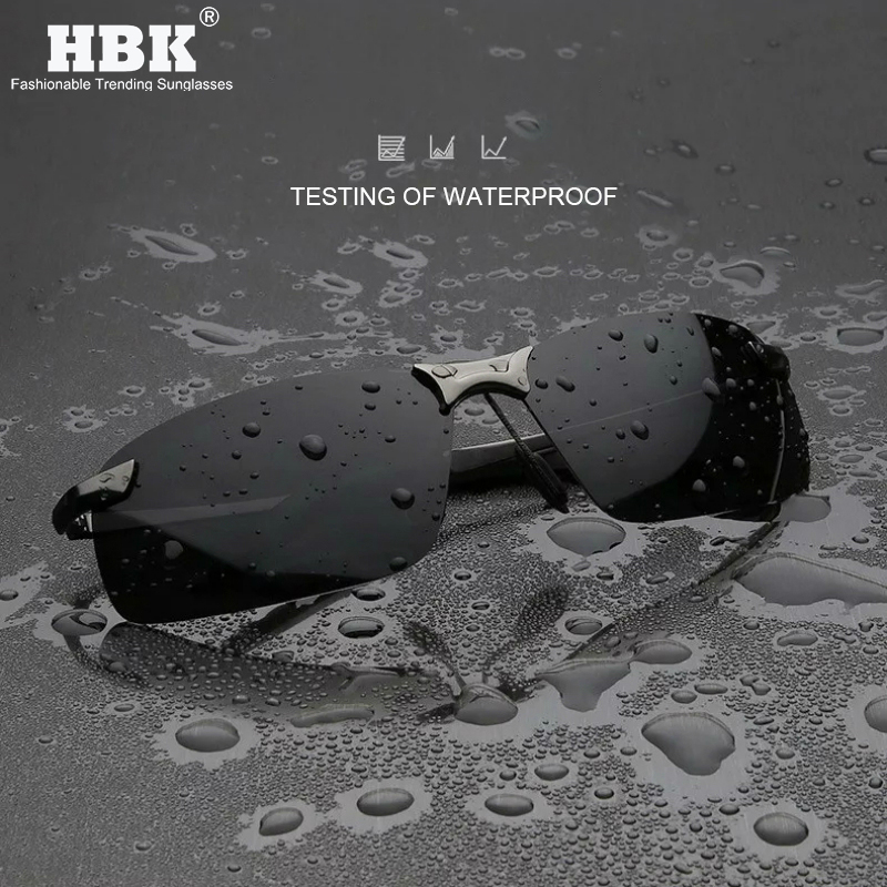 HBK Vintage Sports Polarized Sunglasses Men Waterproof Driving TAC Photochromic Lens Sun Shades Spring Alloy Temple UV Goggles