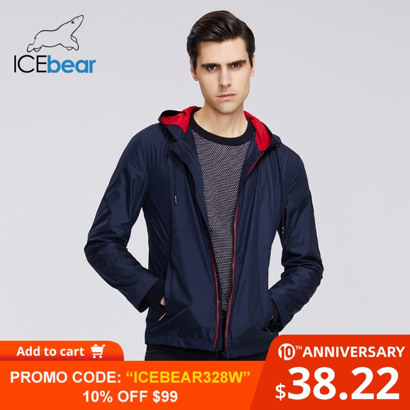 ICEbear 2020 New Men's Spring Clothing Casual Mens Windbreaker Men's Hooded Jacket Brand Men Trench Coat MWF20821I